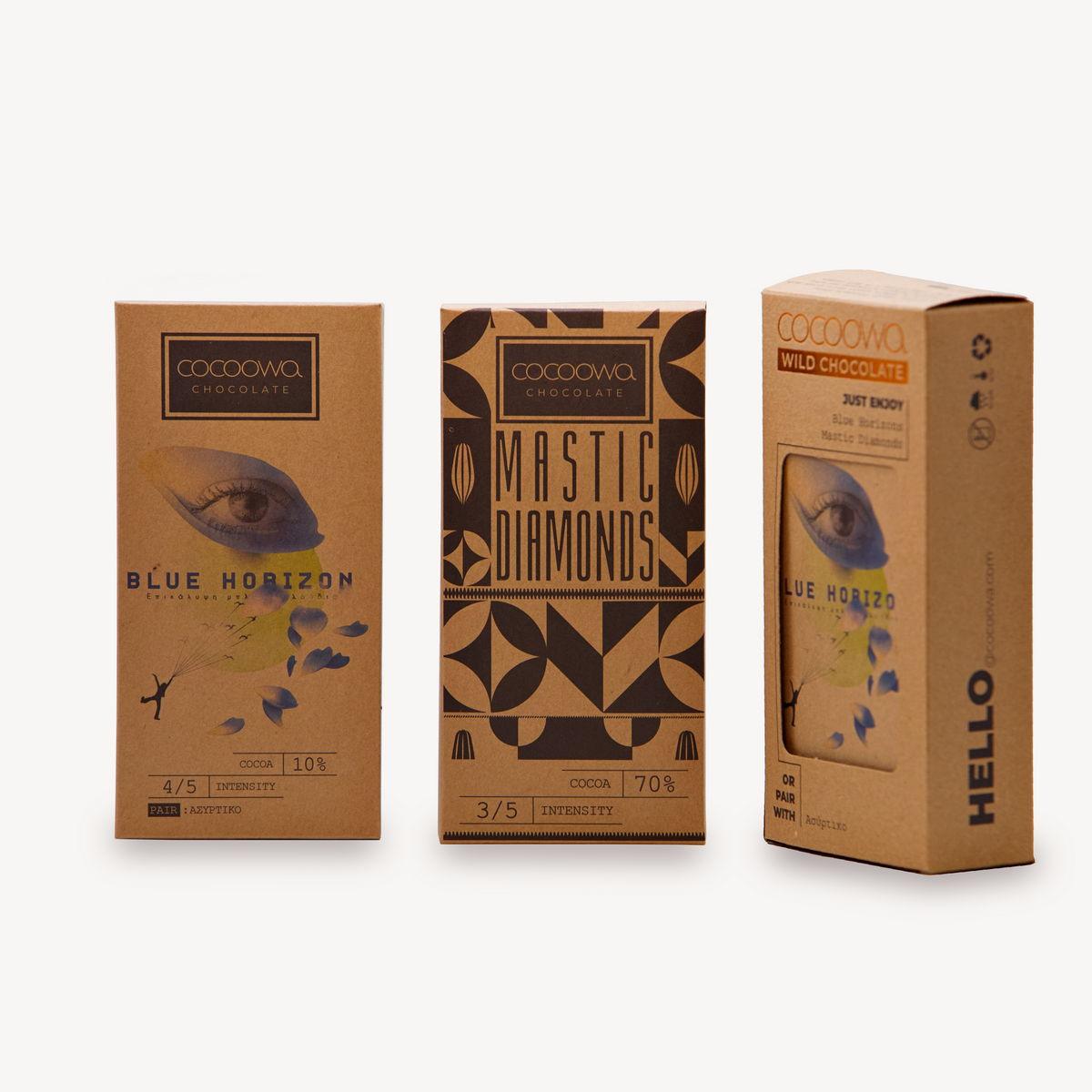 Συσκευασίες πακέτου σοκολατών Cocoowa Blue Horizon