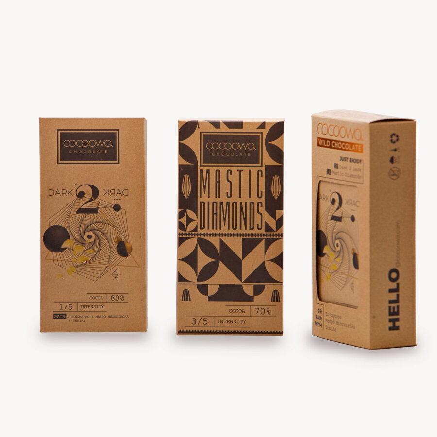 Συσκευασίες πακέτου σοκολατών Cocoowa Dark to Dark