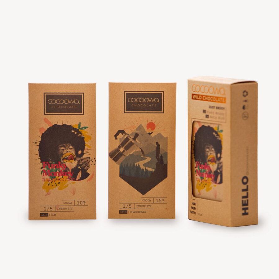 Συσκευασίες πακέτου σοκολατών Cocoowa Funky Monkey