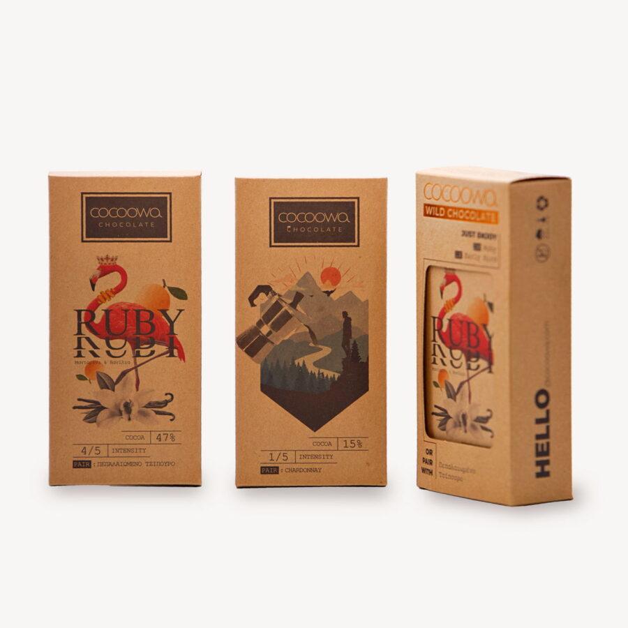 Συσκευασίες πακέτου σοκολατών Cocoowa Ruby
